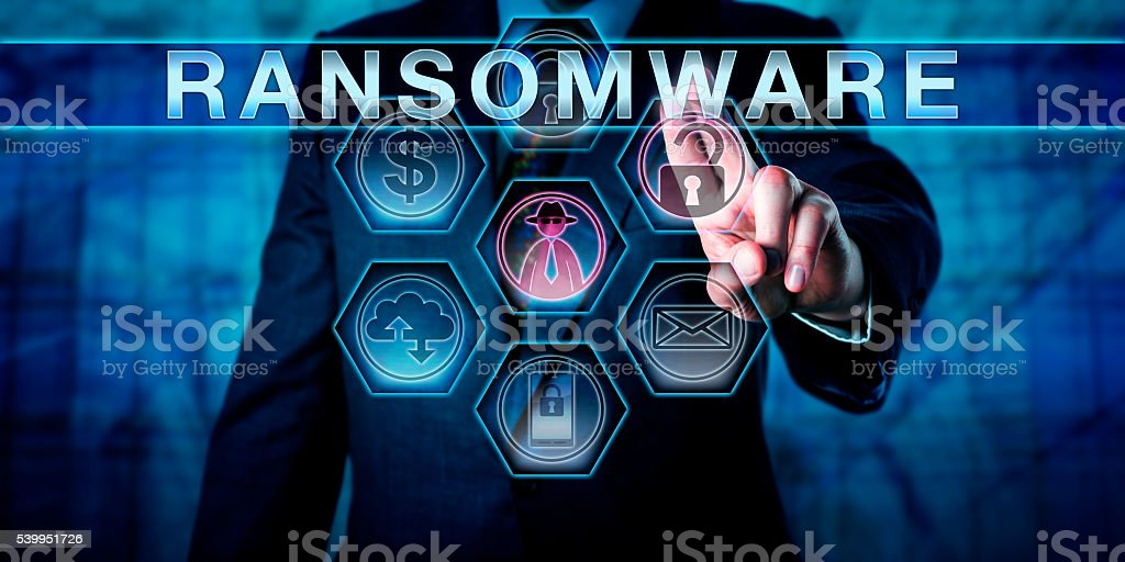 Security Threat Systems Manager Pushes RANSOMWARE stock photo