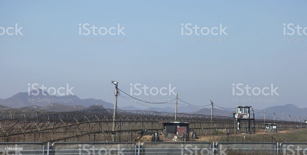 Security towers North, South Korea stock photo