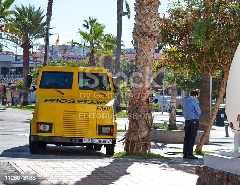 Las Americas, Tenerife / Spain - December 22, 2018 : Armored security vehicle collectors parked from the store to collect revenue