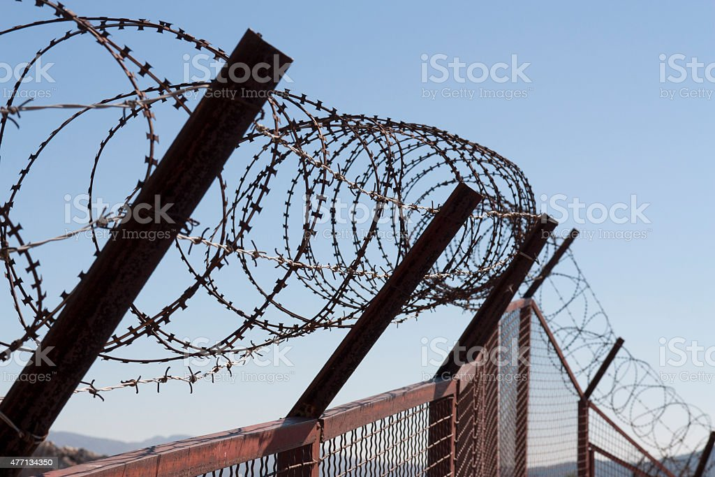 Security with a barbed wire fence. Protection concept design. stock photo