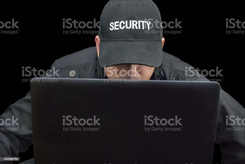 Security Working On Laptop, Brim Down stock photo