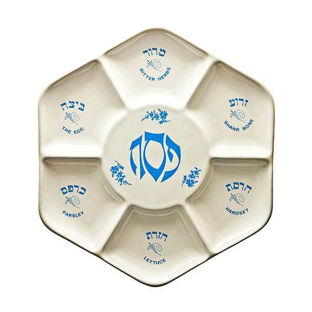 Seder Plate Seder plate with Hebrew and English script seder plate stock pictures, royalty-free photos & images