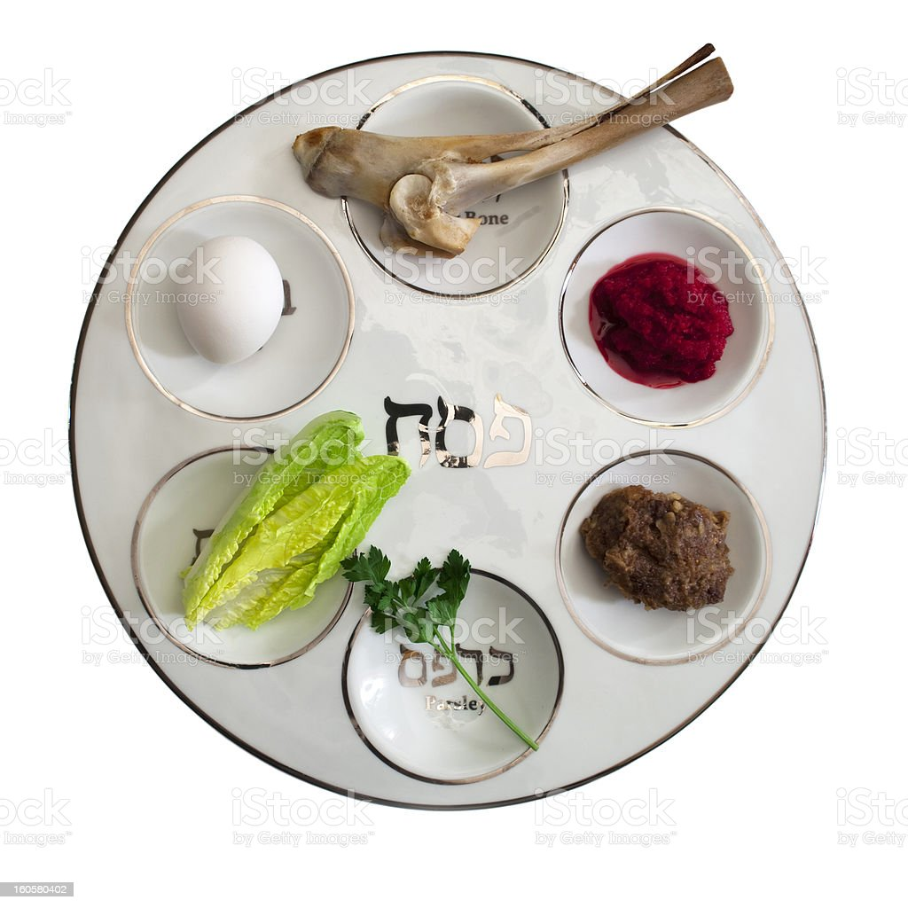 Seder Plate with Food stock photo
