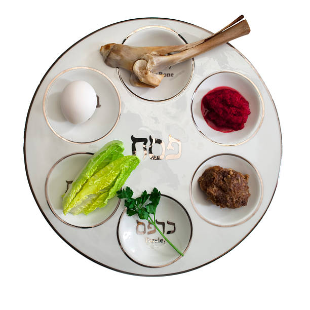 Seder Plate with Food Modern Seder plate with traditional foods of the passover. seder plate stock pictures, royalty-free photos & images