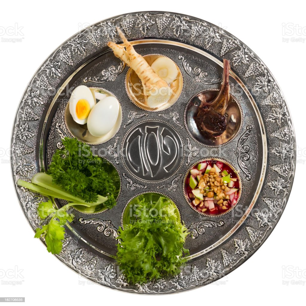 """Seder plate with traditional food isolated """"Seder plate with traditional food2 images photo merge at original resolution.Inspector: Writing in the middle of the plate represent traditional word in Hebrew: AA!a (Pesach). No trademarks, etc are present.The 6 items on the Seder Plate are:1. Maror: horseradish root 2. Zeroa: a roasted lamb bone3. Charoset: fruit and nuts4. Karpas: parsley5. Chazeret: bitter herbs6. Beitzah: a roasted egg,"""" Apple - Fruit Stock Photo"""
