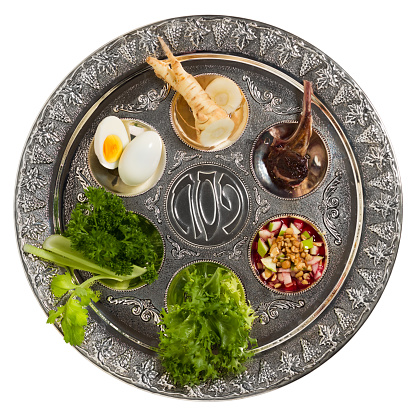 Seder Plate With Traditional Food Isolated Stock Photo - Download Image Now