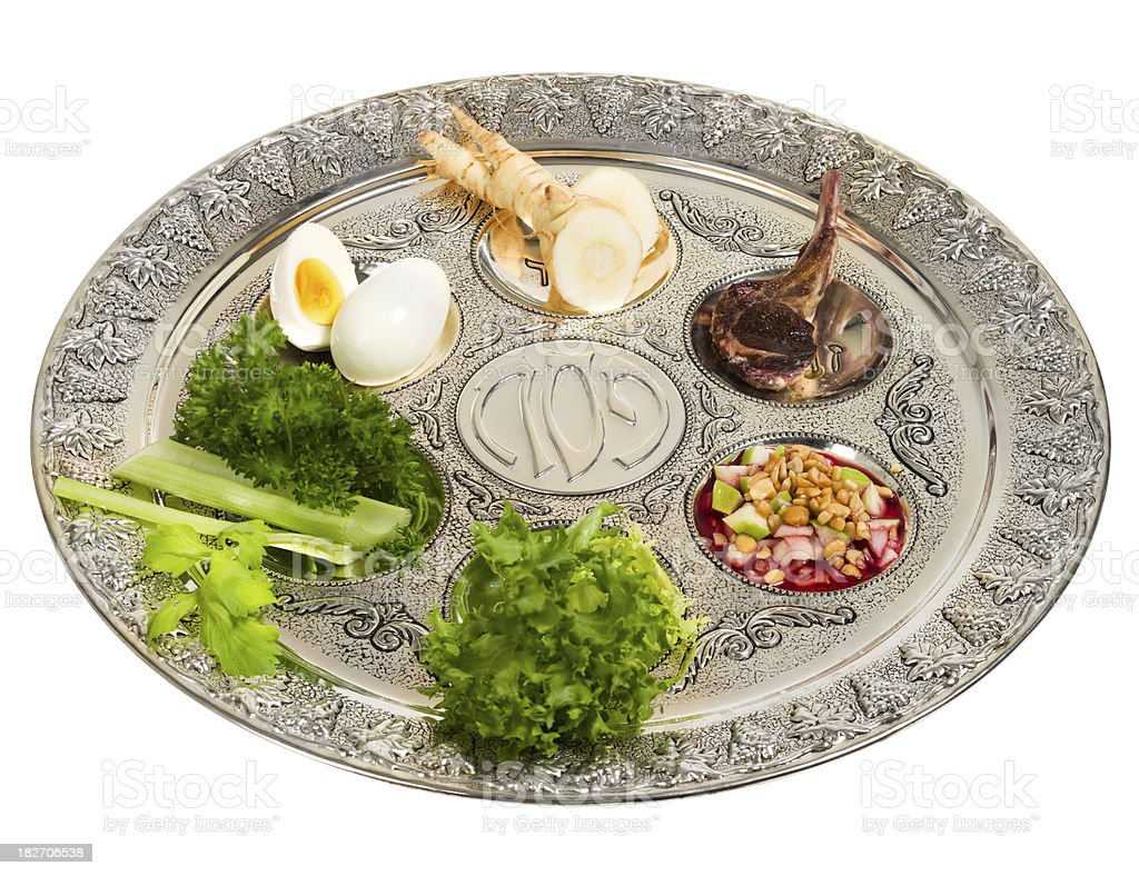 Seder plate with traditional food royalty-free stock photo