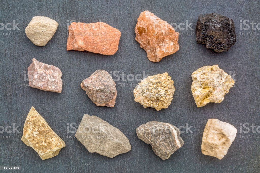 sedimentary rock geology collection stock photo