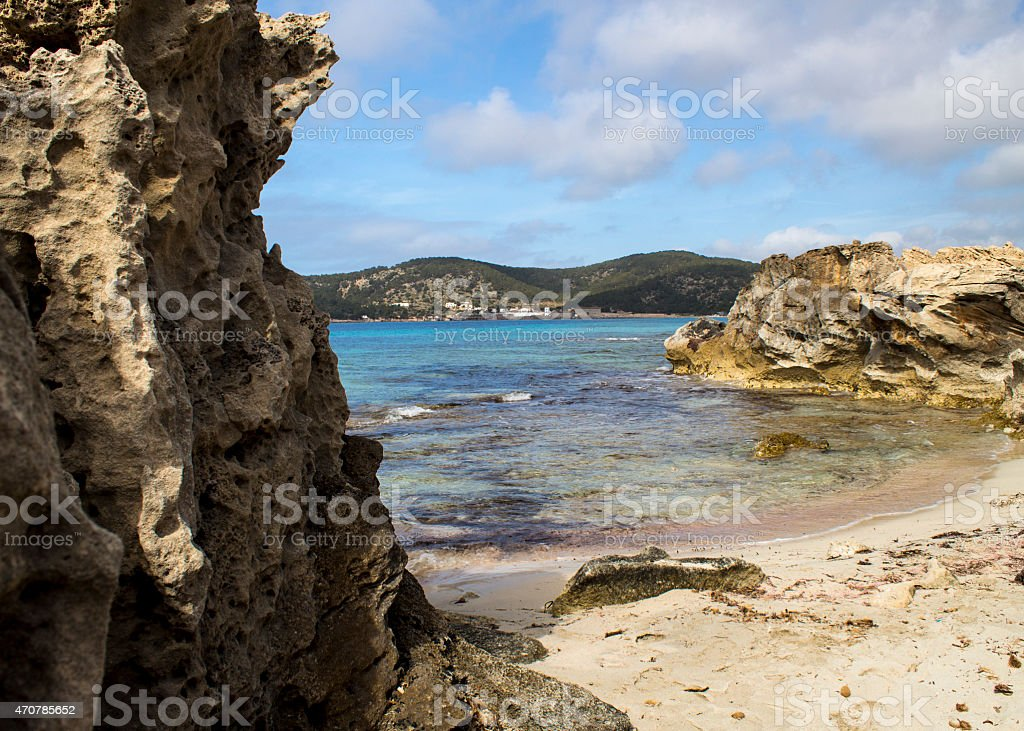 Sedimentary Rock in Ibiza stock photo