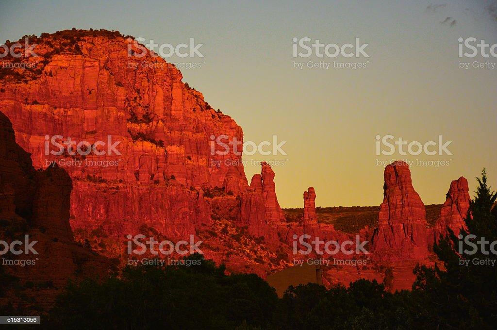 Sedona, Arizona - Two Sisters Sunset stock photo