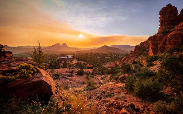 Sedona at sunset view from the Chapel of the Holy Cross Sedona at sunset view from the Chapel of the Holy Cross wilderness stock pictures, royalty-free photos & images