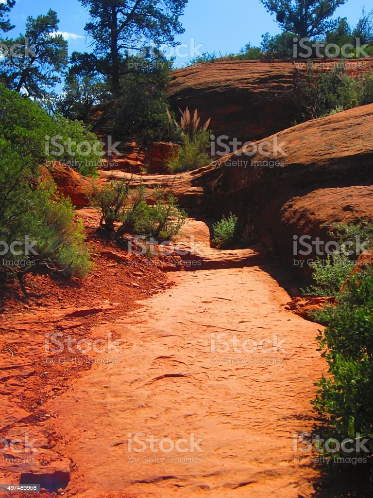 Sedona AZ Water Worn Red Rock Riverbed stock photo