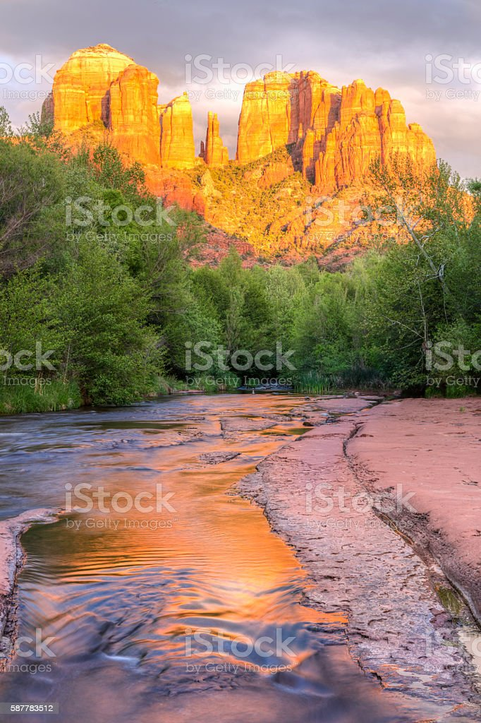 Sedona Cathedral Rock and Oak Creek Sunset stock photo