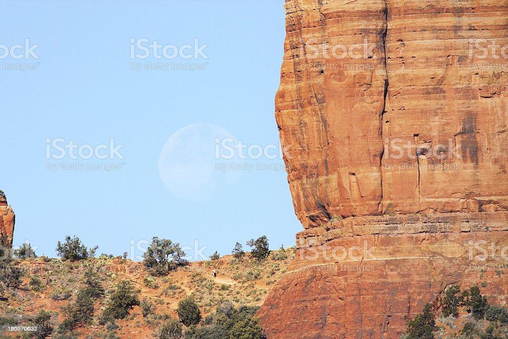 Sedona Cathedral Rock Moon royalty-free stock photo