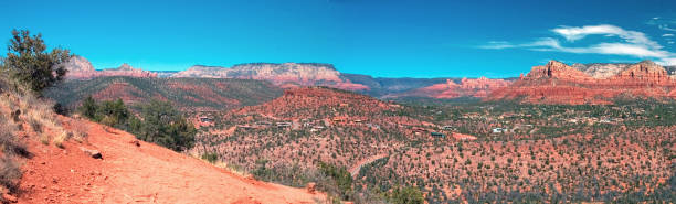 Sedona Landscape in Spring with Buttes, Arizona stock photo