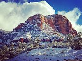 Sedona Landscape with Fog and Snow