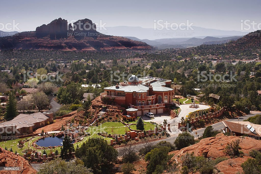 Sedona mansion and city landscape stock photo