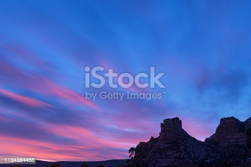 Sedona mountains, Bell Rock at night, in Arizona, USA