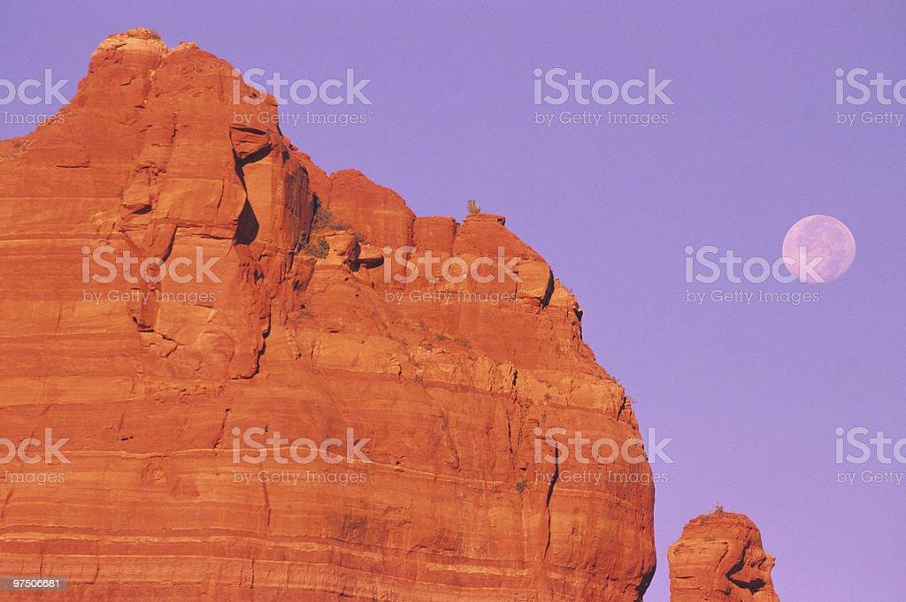 Sedona Red Rocks and Full Moon royalty-free stock photo
