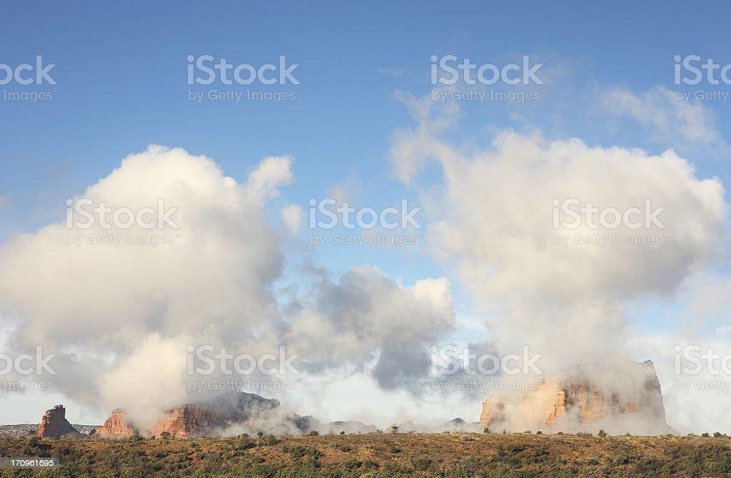 Sedona Sunrise Landscape Mist royalty-free stock photo