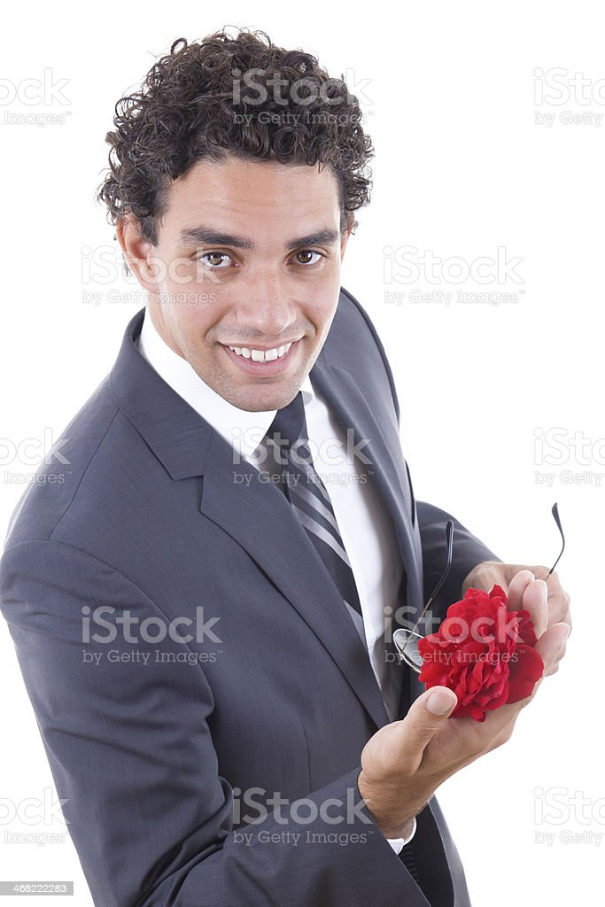 seducer smiling  with rose stock photo