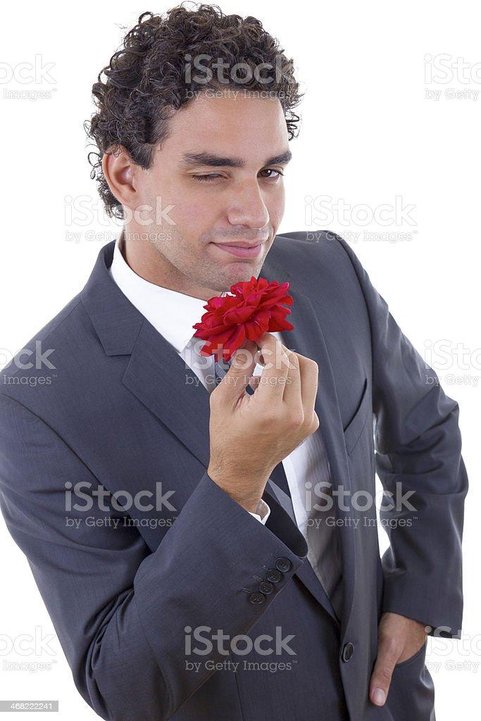 seducer with rose stock photo