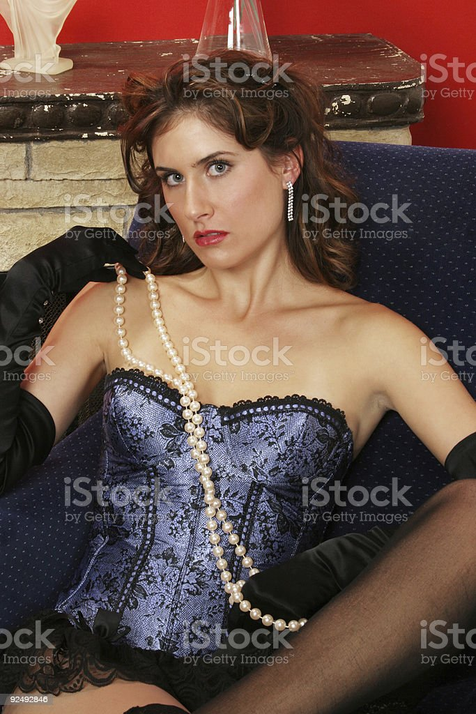 seductive babe in blue boostie royalty-free stock photo