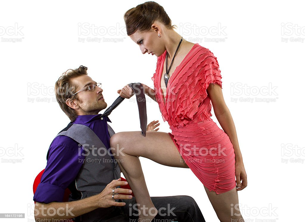 Seductive Dominating Female Being Bossy at Boyfriend stock photo