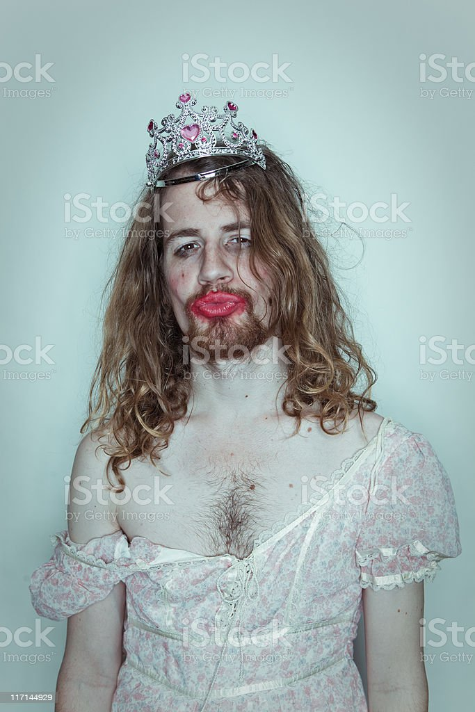 Seductive Male Prom queen in drag tiara on head lipstick royalty-free stock photo