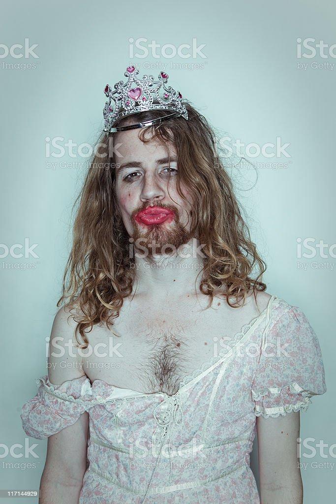 Seductive Male Prom queen in drag tiara on head lipstick stock photo