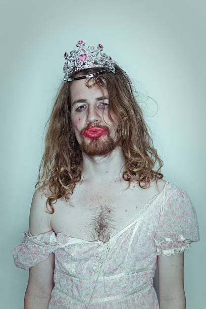 seductive male prom queen in drag tiara on head lipstick - transvestite stock photos and pictures