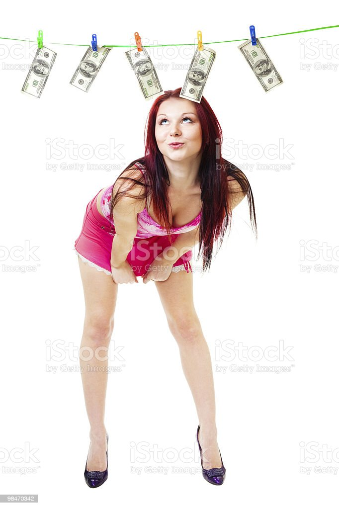 Seductive woman dry cash royalty-free stock photo