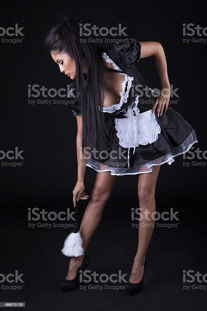 Seductive Woman In Maids Outfit Stock Photo