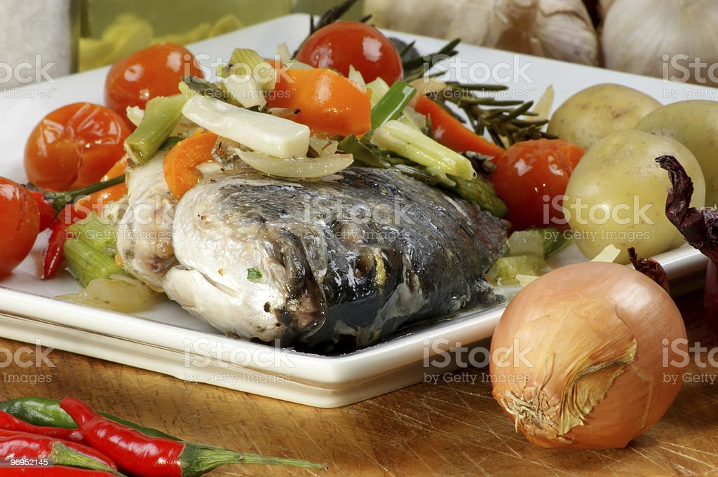 see bream with mediterranean vegetable on a plate royalty-free stock photo
