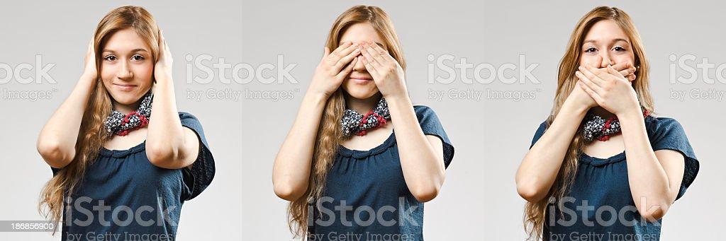 See, hear, speak stock photo