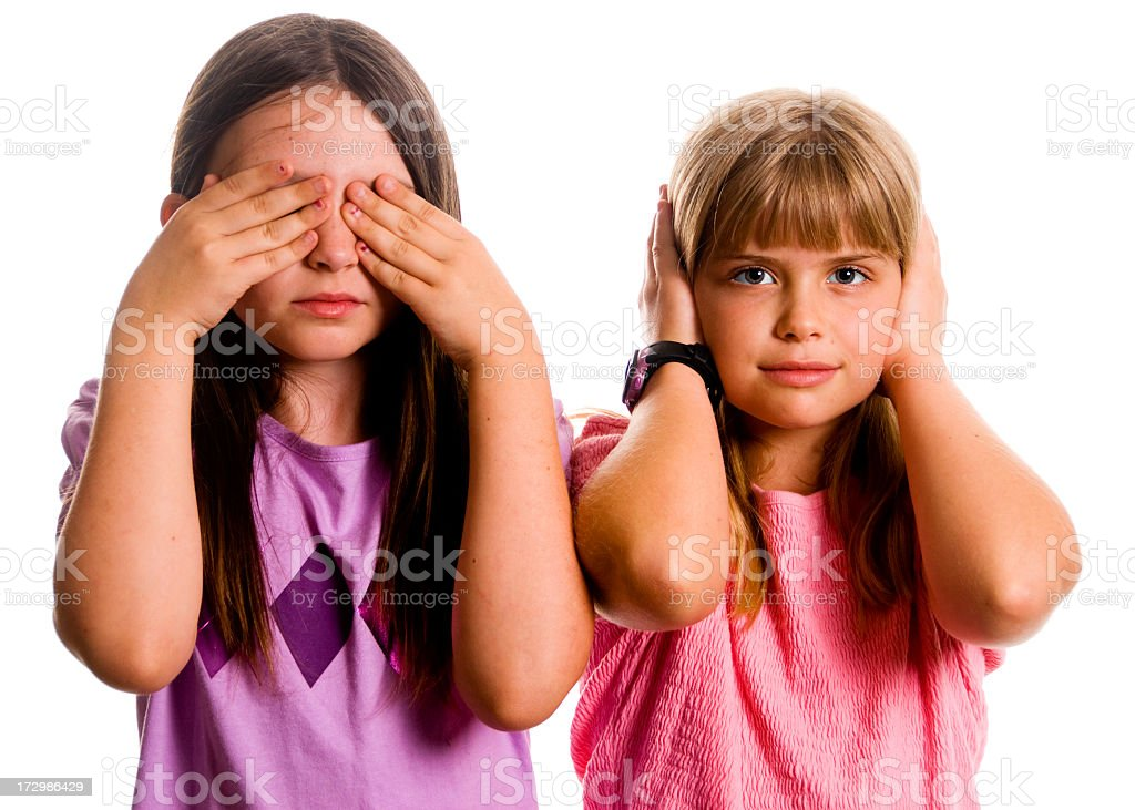 See no evil , hear no evil depicted by children royalty-free stock photo