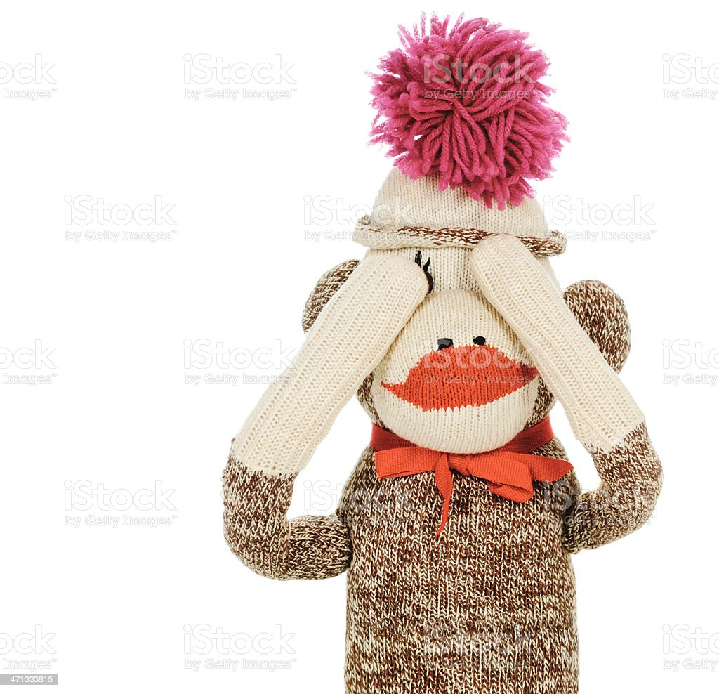 See No Evil Sock Monkey royalty-free stock photo