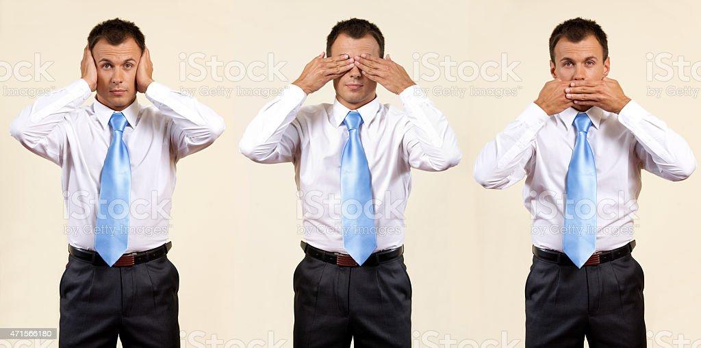 See no evil, speak no evil, hear no evil stock photo