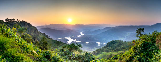 See panoramic photos of amazing ecosystem of Ta Dung lake with wonderful shape of hill around lake in Dak Nong province, Vietnam stock photo