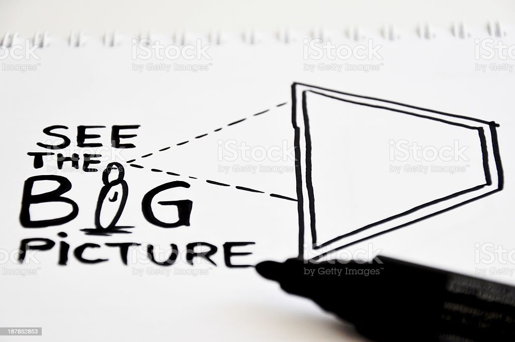 see the big picture concept stock photo