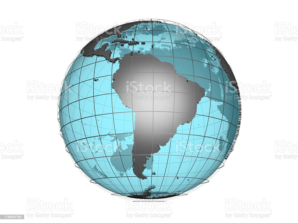 See through 3d globe model showing South America royalty-free stock photo