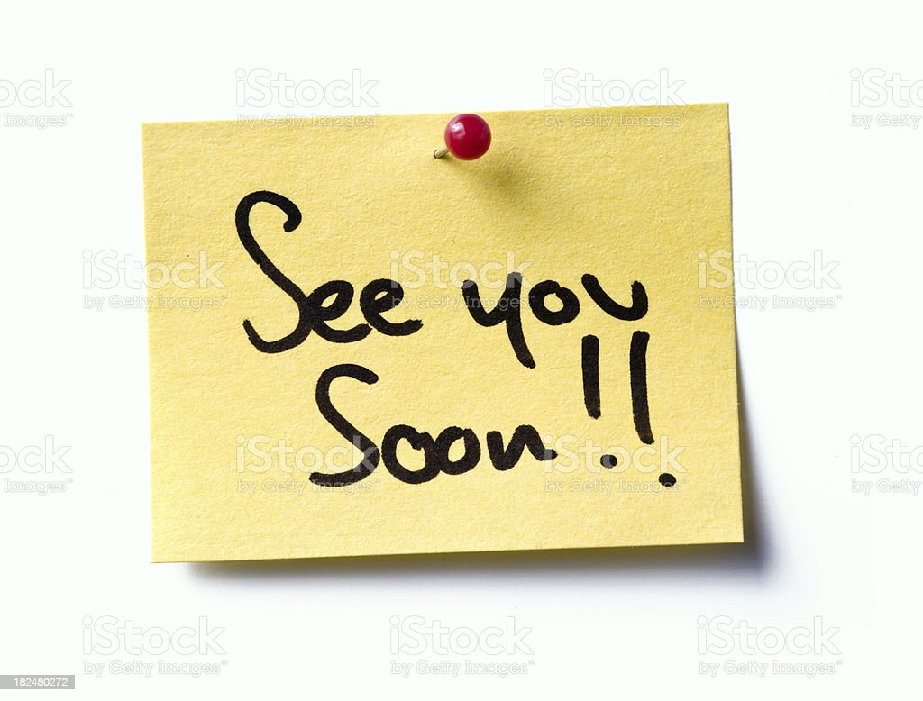 See you soon! post-it. royalty-free stock photo
