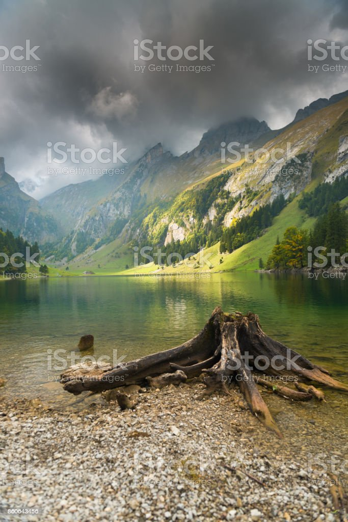 Seealpsee Cloudy sky, Appenzell, Switzerland stock photo