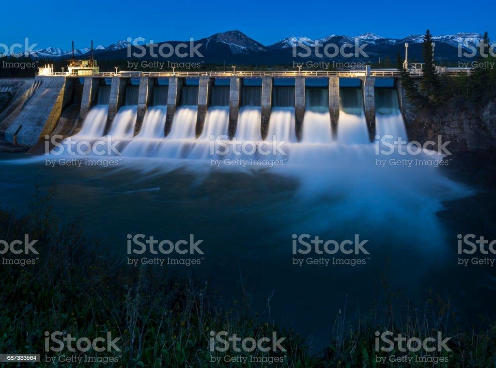 Seebe Hydroelectric Dam near Exshaw at Night stock photo