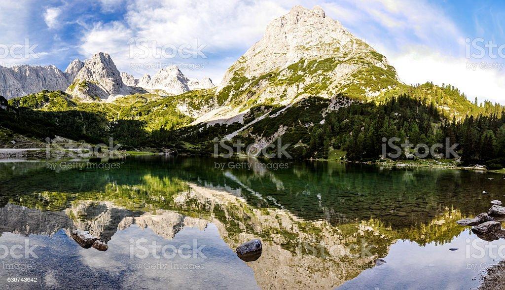 Seebensee lake and Sonnenspitze mountain - Tyrol, Austria stock photo