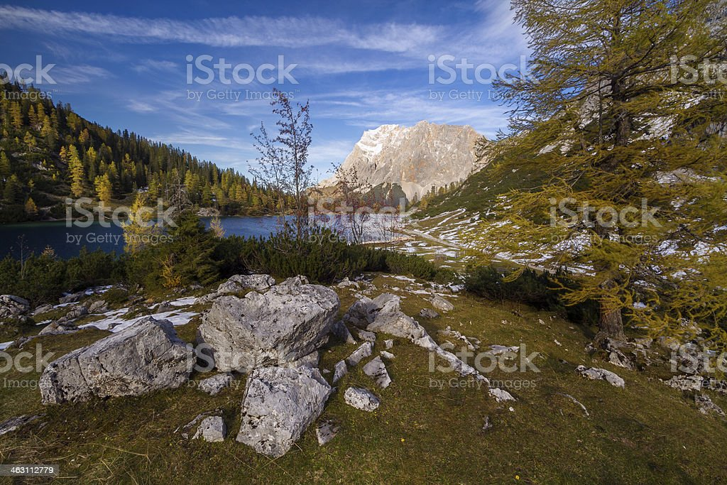 Seebensee with Zugspitze stock photo