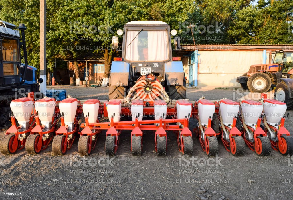 Seeder for sowing seeds of field crops. stock photo