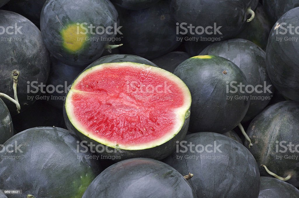 Seedless Watermelons at the Farmer's Market royalty-free stock photo