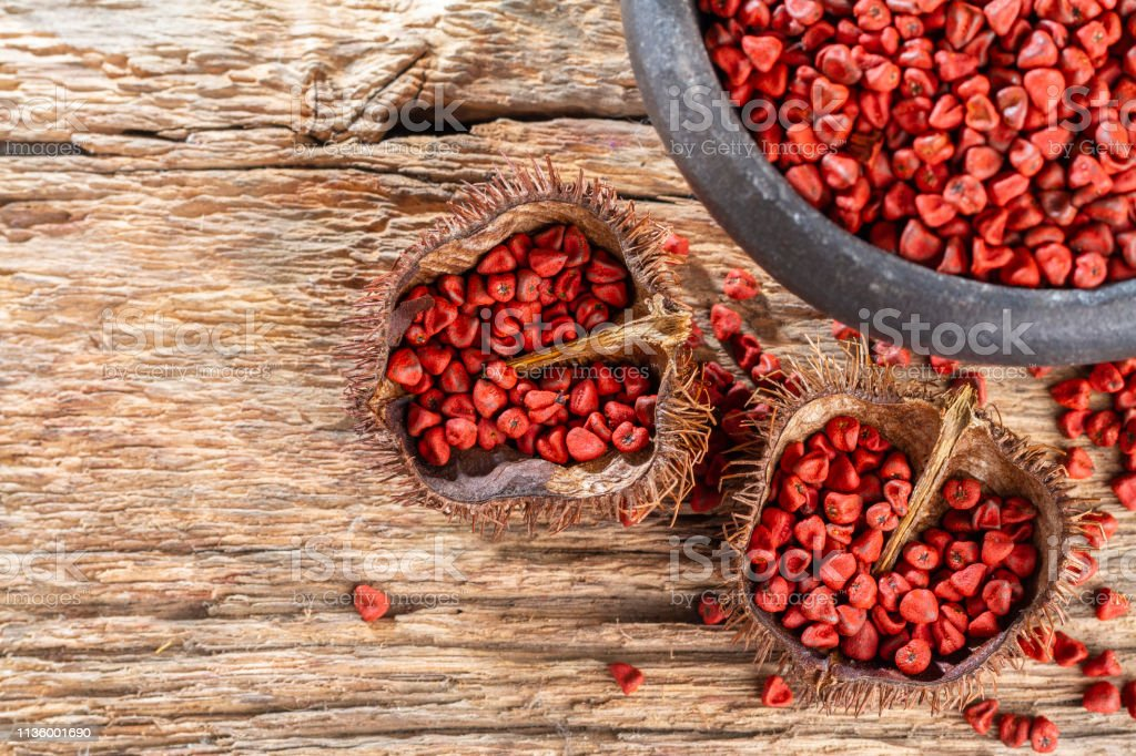 Seeds of achiote, originating from central america and parts of south america is used to season food stock photo