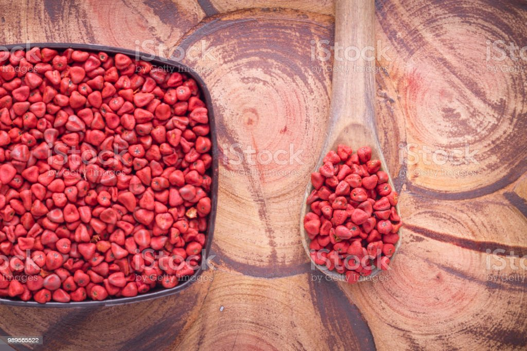 Seeds of achiote stock photo
